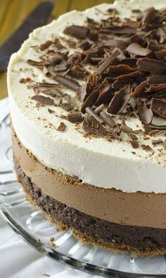 One of the most decadent chocolate cakes ever – Triple Chocolate Mousse Cake. One of the most decadent chocolate cakes ever – Triple Chocolate Mousse Cake. Chocolate Mouse Cake, Triple Chocolate Mousse Cake, Decadent Chocolate Cake, Chocolate Desserts, Chocolate Chocolate, Chocolate Shavings, Amazing Chocolate Cake Recipe, Best Chocolate Cake, Healthy Chocolate
