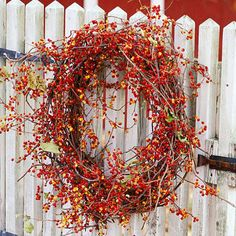 Making a twine vine is a perfect fall complement to any fence: http://www.bhg.com/decorating/seasonal/fall/fall-wreath-door-decorations/?socsrc=bhgpin110313twineavine&page=2