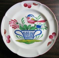 French Folk Art Pink Bird Blue Basket Cherries Edge Plate #decorativedishes