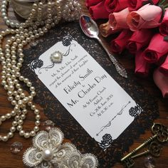 Laser cut rose french inspired Wedding invitation by SharpWeddings