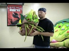 Monkey Boys Productions demonstrates their Audrey II rental puppets for Little Shop of Horrors. www,monkeyboysproductions.com