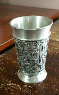 Vintage Zinn Becker Stuttgart Embossed Pewter Hand Engraved Shot Glass, Pewter Cup, Vintage Barware, Man Cave by EmptyNestVintage…