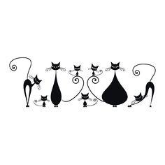 Vinilos Decorativos Gatos En Familia