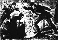 Dessin montrant trois hommes découvrant le torse d'une femme nue.