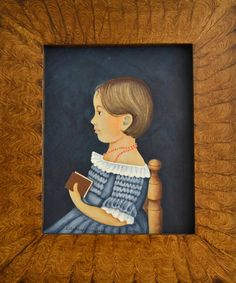 """The """"Mary Briggs""""- Reproduction-my rendition of this Folk Art Portrait- originally by an unknown artist"""