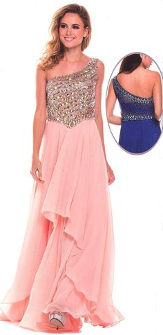 Prom Dresses Evening Dresses under $200<BR>570<BR>One shoulder full length gown featuring bodice embellished with gorgeous stones