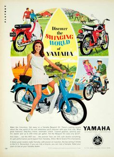 This is an original 1966 color print ad for Yamaha motorcycles: the Newport 50 and the Twin Jet 100. CONDITION This 47+ year old Item is rated Very Fine +++. Light aging in margins. No creases. No nat