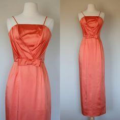 1950's peach satin dress XS dress long formal by DottieMaeVintage