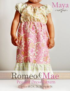 PDF Pattern Maya Peasant Dress Sewing Pattern by FreidaMaeEtsy.