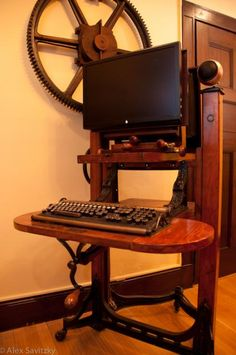 {Tech} Steampunk computer desk #technology #steampunk