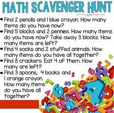 Math Scavenger Hunt - Combine Look Preschool Learning, Kindergarten Math, Teaching Math, Preschool Activities, Math Math, Math Games, Toddler Learning, Preschool Schedule, Teaching Tools