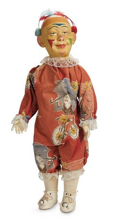 The Lifelong Collection of Berta Leon Hackney: 91 French Paper Mache Clown with Wonderful Original Costume