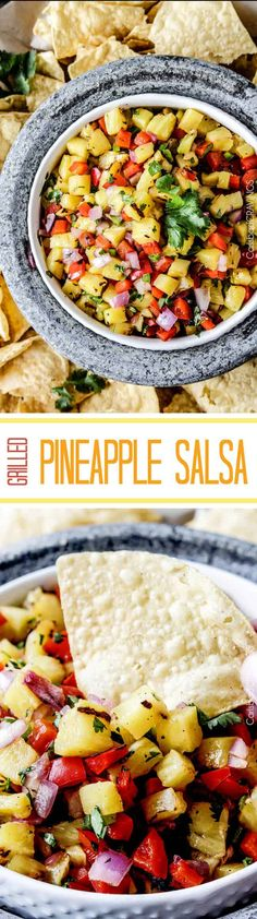 Sweet and smoky Grilled Pineapple salsa with not only grilled pineapple but GRILLED red bell peppers, red onions AND jalapeno! sweet and smoky and possibly the best salsa E-V-E-R alone, with chips, tacos or on fish/chicken. #pineapple #salsa #pineapplesalsa #grill via @carlsbadcraving