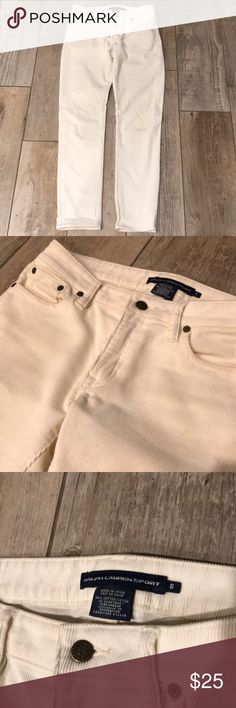 Ralph Lauren Sport Creme Colored Corduroy Jeans. Good condition, hardly worn. Inseam length, 30 inches. Ralph Lauren Jeans Ankle & Cropped