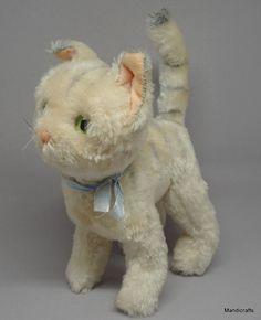 #Schuco #Tabby Kitty Cat Mohair Plush Standing 18 cm Glass Eyes 1960s Bendy Vtg