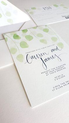 eucalyptus wedding invitation botanical wedding invitation green