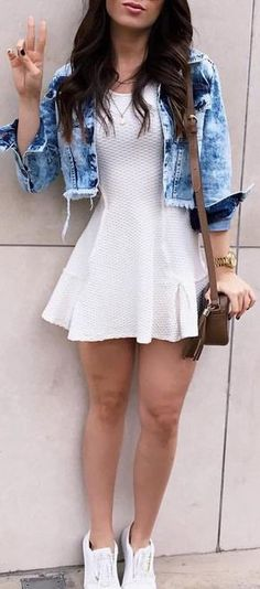 fall outfit ideas / knit white dress + denim jacket