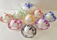 Shelley Dainty Rainbow Set Teapot Tea Cups & by TheEclecticAvenue
