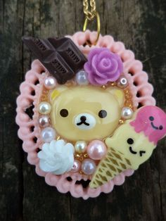 Kawaii/Lolita/Decora Relax Bear Pendant. Sweet by EbrosChronicle