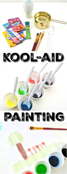 How to Make Kool-Aid Watercolors! - This is how easy it is to make Kool Aid paint so your kids can watercolor safely at home! A fun and - Preschool Painting, Painting Activities, Craft Activities For Kids, Painting For Kids, Preschool Crafts, Fun Crafts, Easel Activities, Preschool Classroom, Toddler Activities