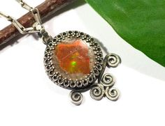 Pendant Opal fire made of 925 Silver by Silberakt on Etsy