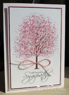 stampin up sheltering tree-- I LIKE HOW SHE MADE THE TREE LOOK TALLER!