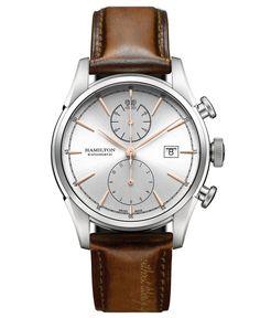 Hamilton Men's Swiss Automatic Chronograph Jazzmaster Spirit of Liberty Brown Leather Strap Watch 42mm H32416581
