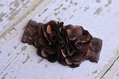 Brown Satin and Tulle Cluster on Stretch Lace Headband by Ruby Blue