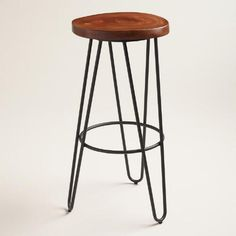 One of my favorite discoveries at WorldMarket.com: Wood and Black Metal Malvan Hairpin Barstool