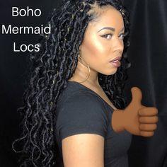 Boho Mermaid Locs Sabrina Greene - New Site - crochet braid styles - Box Braids Hairstyles, Fancy Hairstyles, Girl Hairstyles, Mermaid Hairstyles, Black Hairstyles, Protective Hairstyles, Hairstyle Ideas, Twists, Twist Braids