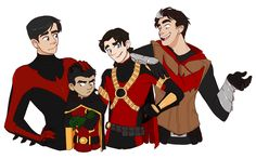 Batboys. Nightwing, Robin, Red Robin, and Red Hood.