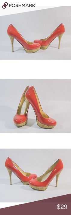 """""""Guess Karise Pumps 👠 """" Super Hot 🔥, Red Karise, Patent Leather Platform Shoes, With Cork Heels, Worn Few Times, Good Condition, Lots Of Life Left!!! 5"""" Heel, Size 9.5 M Guess Shoes Heels"""