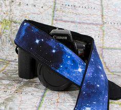 Space dSLR Camera Strap Stars Blue SLR Pocket Galaxy by ten8e