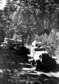 17th September, 1939, Soviet armoured cars in a line as they make their way across the Polish border during the Russian invasion at the start of World War Two (Photo by Popperfoto/Getty Images)
