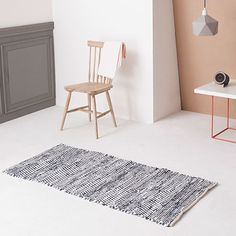 70x140 Zigzag Carpet blue made from Cotton by by Broste Copenhagen