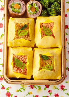 Spring Chakin (Rice wrapped in Thin Omelette) Bento そぼろごはんの茶巾包み弁当 レシピ