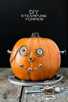 Easy DIY Steampunk Pumpkin, a fun and whimsical mechanical wonder. A unique Halloween pumpkin that's sure to be a conversation starter. A great kids craft too. Halloween Projects, Halloween Make, Holidays Halloween, Halloween Treats, Halloween Pumpkins, Halloween Decorations, Steampunk Halloween, Steampunk Diy, Vintage Halloween