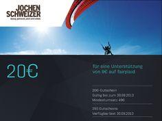 Hol Dir Deinen 20€ Rabatt Gutschein von Jochen Schweizer! Einfach mit 8€ ein #fairplaid #Sport #Projekt Deiner Wahl unterstützen - hier geht es zu den aktuellen Projekten: http://www.fairplaid.org/Gutscheine/Gutschein-Detail/vid/49