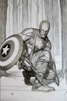 Adi Granov Astonishing Captain America  Comic Art