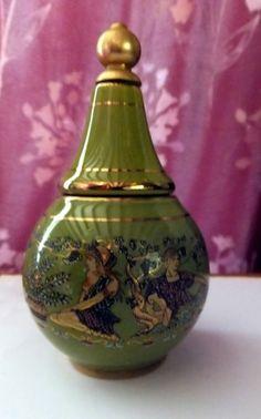 Vintage Greek ceramic cream and perfume bottle Green gold hand painted decoratio |  | eBay!