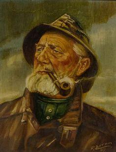Portrait of a Fisherman, Vintage Oil Painting