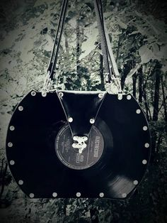 Handmade Rock Vintage Vinyl Record Handbag Upcycled Original Disc Leather Outside H = 21.5cm/8.46in; L = 29.5cm/11.61in; W = 8cm/3.14in by ColorYourLifebyM on Etsy