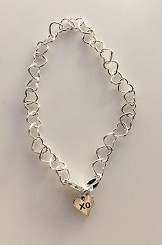 Sterling Silver Linked Heart Chain Bracelet With Tiny XO Heart Charm - Small Hugs and Kisses xoxo Heart Bracelet by MagicalUniverse on Etsy