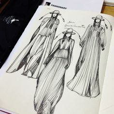 Drawing Ann Dem outfits on Fashionary A5 Womens RED Sketchbook by Vikki Yau