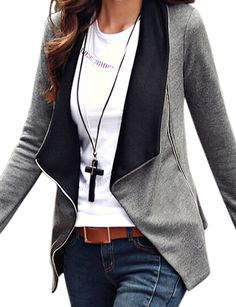 LookbookStore Women's Casual Draped Asymmetric Zip Blazer Jacket Outwear *** You can find more details by visiting the image link.