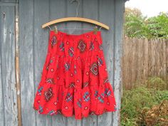 Vintage red southwestern square dancing by dirtybirdiesvintage, $26.00