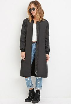 Forever 21 is the authority on fashion & the go-to retailer for the latest trends, styles & the hottest deals. Outerwear Women, Outerwear Jackets, Long Bomber Jacket, Bomber Jackets, Winter Fits, Fall Winter, Forever 21, Latest Trends, How To Wear