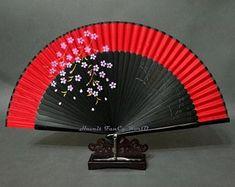 Red Japanese Hand Fan with SAKURA Pattern, Kimono Sensu, hand fan, folding fan, wedding fan Skeleton Parts, Very Funny Pictures, Small Fan, Wedding Fans, Kimono Pattern, Dance Costumes, Japanese Art, Art Projects, Anime Art