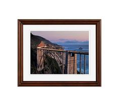 "Bixby Bridge Dusk Framed Print By Katherine Gendreau, 16x20"", Ridged Distressed Frame, Espresso, Mat"