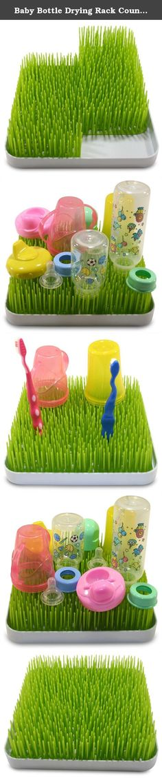 """Baby Bottle Drying Rack Countertop Grass / BPA-Free / Firm, Green """"Grass"""" Blades / Easily Cleaned 3-Piece Design / Stylish Design / Handy Baby Bottle Rack. The last thing you want to have happen after hand-washing and sanitizing your child's bottles, lids, sippy cups and pacifiers is to have these items contaminated by bacteria from your counter-top, dish cloths or other dishes. Our product is more hygienic as the firm grass blades allow items to stay upright and above the base. The…"""